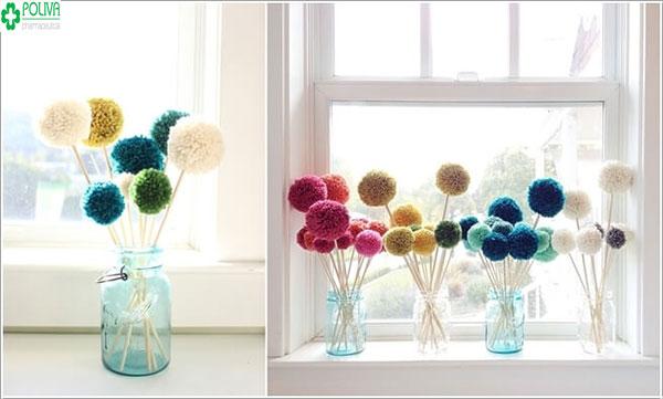 Độc đáo với kiểu trang trí cửa sổ bằng những sợi len nhỏ