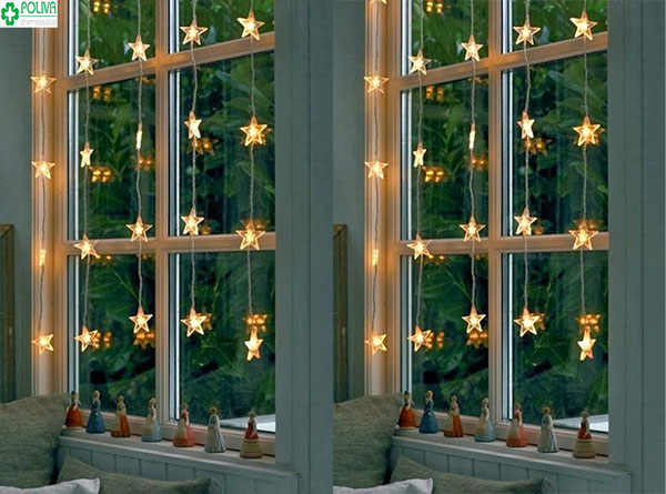 Đèn nháy lấp lánh trong đêm tăng phần lãng mạn cho căn phòng