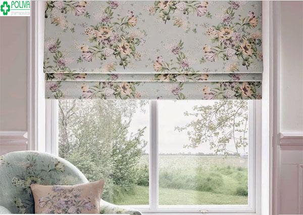 Màu cửa sổ màu tím nhạt kết hợp với rèm cửa hoa văn cùng tông màu tạo cảm giác dễ chịu cho gia chủ