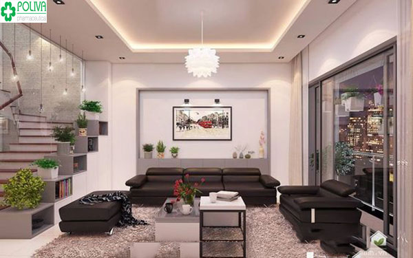 Sơn tường màu tím nhạt kết hợp đồ nội thất tạo không gian đẹp, rộng rãi