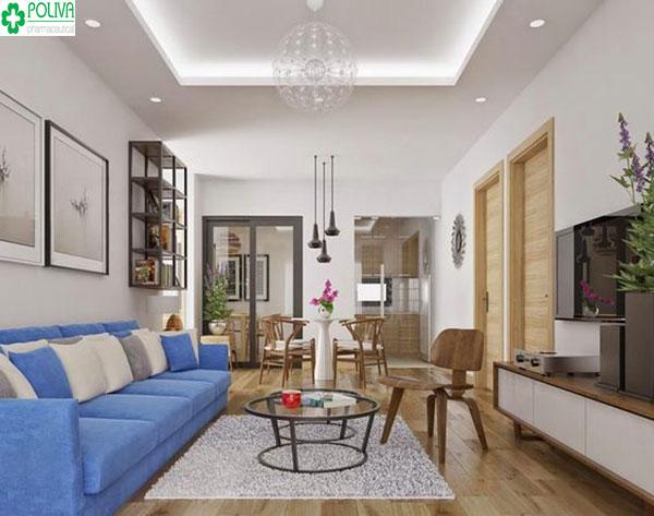 Căn phòng khách rộng rãi, thoáng thích hợp cho buổi gặp mặt, tụ họp