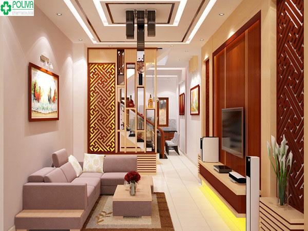 Nội thất đẹp cùng ánh đèn lung linh tạo tổng thể sang trọng cho căn phòng khách