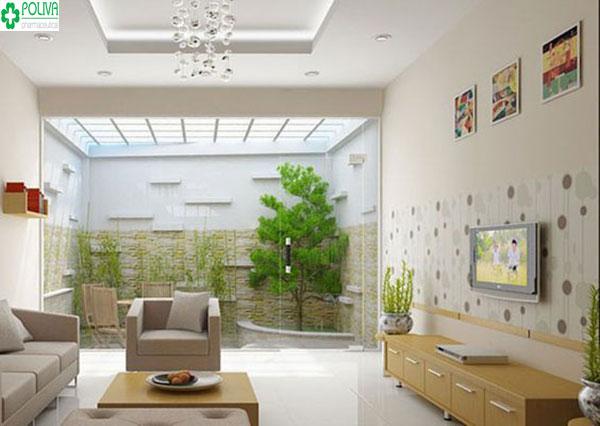 Kết hợp giữa nội thất và màu sơn tạo sự hài hòa cho căn phòng khách