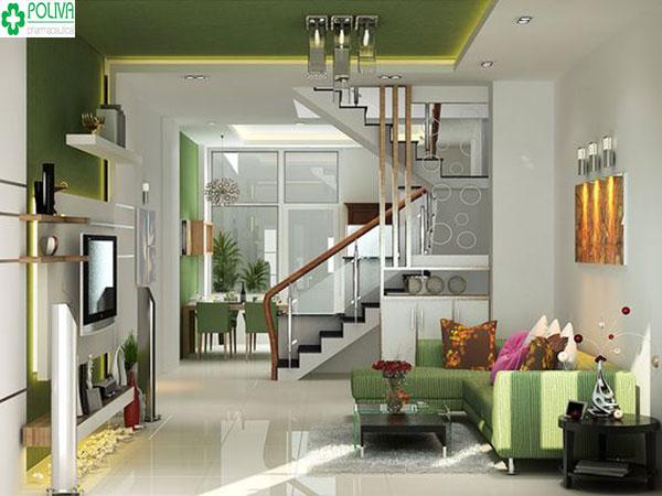 Bố cục gọn gàng, màu sắc hài hòa tạo căn phòng khách đẹp, khang trang