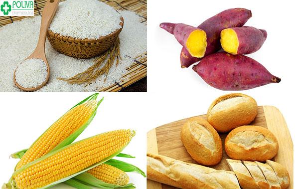 Các chất bột: gạo, khoai, ngô... bổ sung các chất dinh dưỡng cho cơ thể