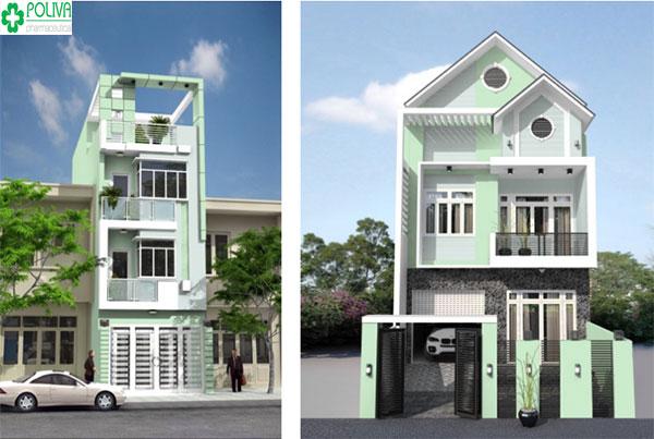 Màu sơn tường xanh lá cây nhạt kết hợp trắng tạo sự trẻ trung cho ngôi nhà