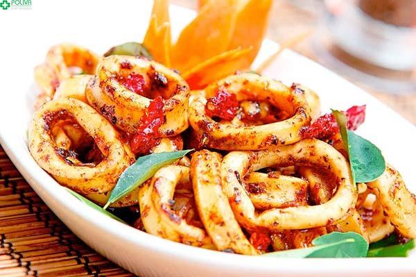 Một món ăn hấp dẫn được chế biến từ mực Cù Lao
