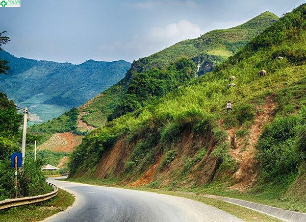 Đường vào bản Lìm Mông khá dốc, vắt vẻo quanh sườn núi