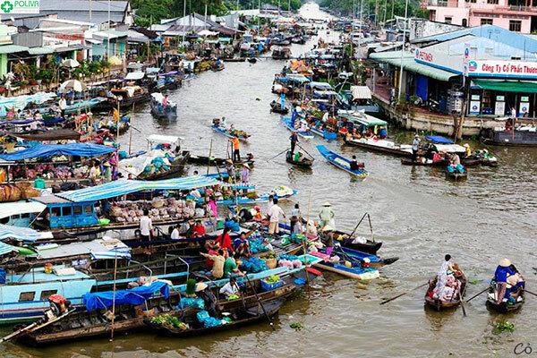 Chợ nổi Cà Mau với hàng trăm chiếc ghe thuyền tấp nập