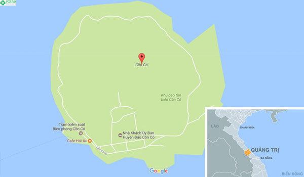 Bản đồ vị trí của đảo Cồn Cỏ