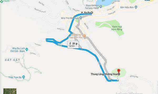 Bản đồ đường đi tới thung lũng Mường Hoa