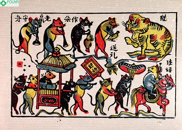 Đám cưới chuột - một tác phẩm nổi tiếng của tranh Đông Hồ.