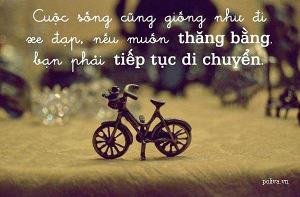 Cuộc đời giống như chiếc xe đạp nhỏ, bạn phải cố gắng để đi trên đó nhanh và vẫn thăng bằng