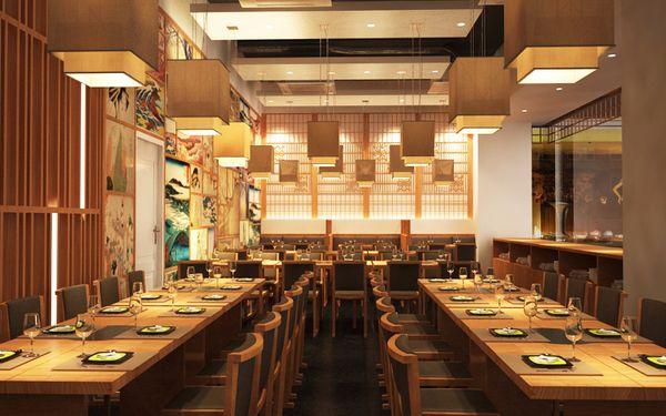 Mẫu nhà hàng Nhật với hệ thống đèn vàng ấm cúng trong khách sạn