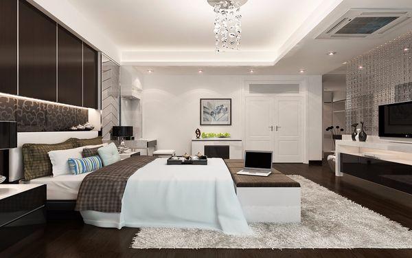 Không gian rộng rãi với gam màu trắng đen tăng thêm sự tinh tế cho căn phòng
