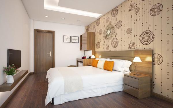 Chất liệu gỗ được trang trí bằng hoa văn của phòng ngủ khách sạn Bel Ami