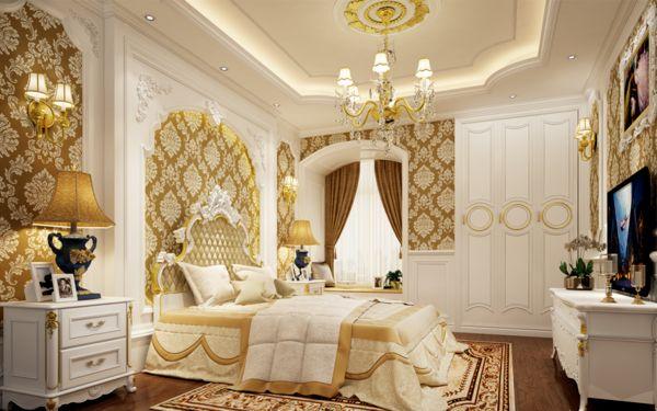 Thiết kế phòng ngủ dựa trên phong cách cổ điển hoàng gia lộng lẫy