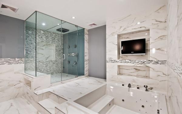 Không gian phòng tắm sang trọng sử dụng chất liệu đá hoa cương