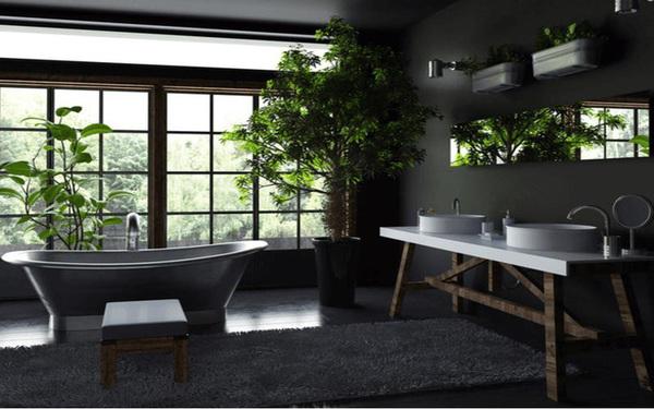 Xu hướng dùng cây xanh để điều tiết ánh sáng trong phòng tắm