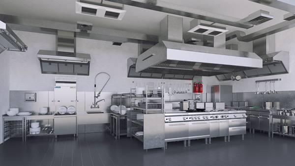 mô hình bếp khách sạn kiểu phân khu