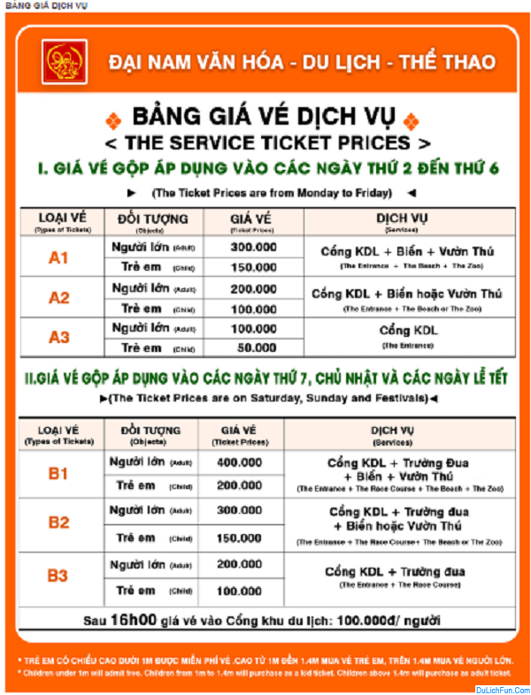 Bảng giá vé dịch vụ khu du lịch