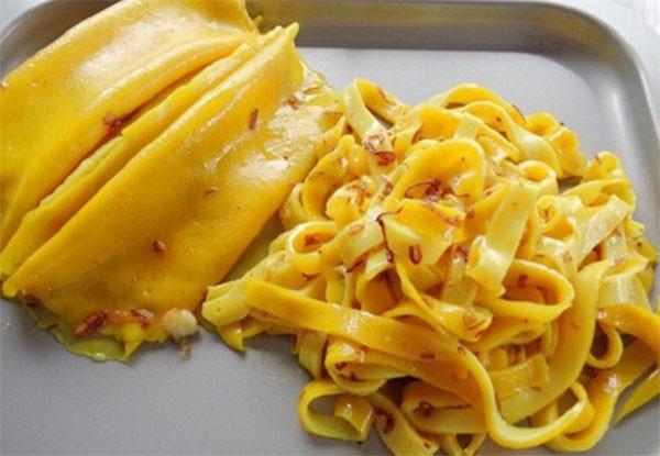 Sợi mì với gam màu vàng đặc trưng