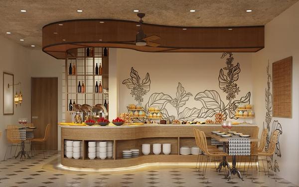 Nhà hàng khách sạn Nam Đế tạo ấn tượng với thiết kế chất liệu gỗ thanh thoát