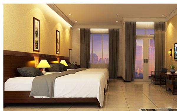 Phòng ngủ sử dụng cửa kính tạo cảm giác rộng rãi, thoải mái của nhà nghỉ tại Sài Gòn