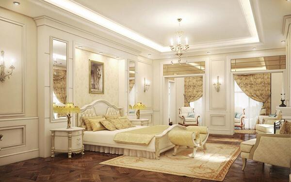 Phòng ngủ của nhà nghỉ 6 tầng được thiết kế phong cách cổ điển Pháp