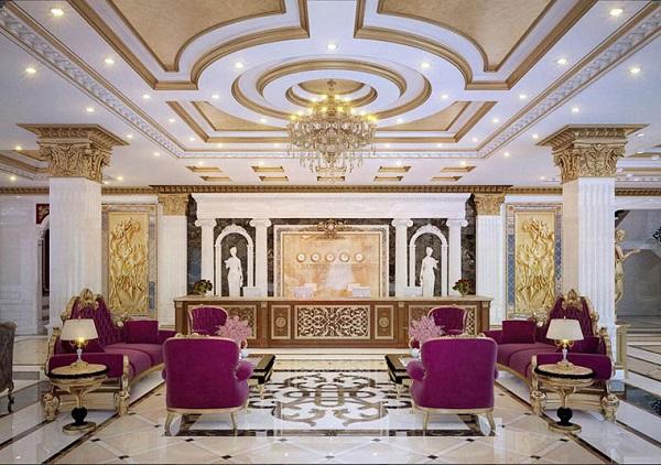 Thiết kế tiền sảnh khách sạn theo phong cách tân cổ điển