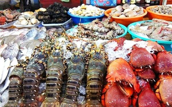 Một quầy hải sản phong phú ven biển Bãi Nồm