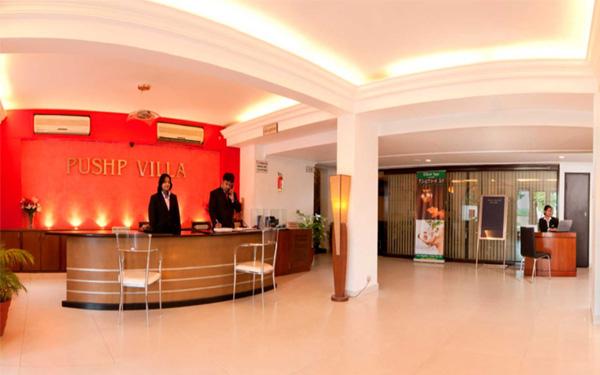 Thiết kế tiền sảnh hotel 3 sao rộng rãi và ấn tượng (Hotel Puship Villa)