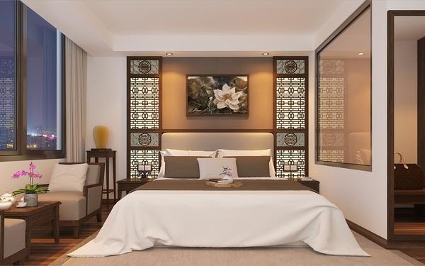 Phòng ngủ khách sạn 4 sao đặc trưng phong cách Á Đông