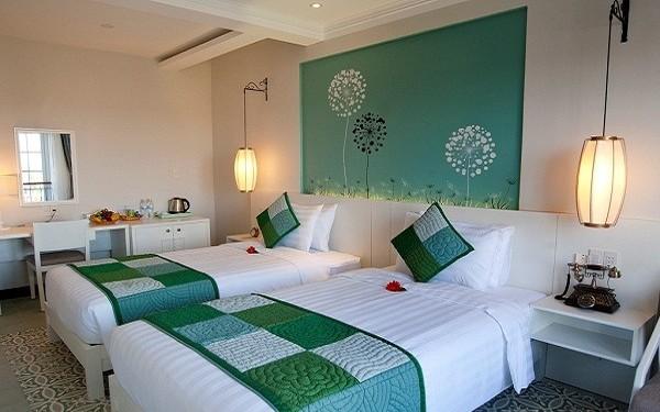 Gam màu xanh thiên nhiên dịu dàng mang đến cảm giác tươi mới cho phòng ngủ
