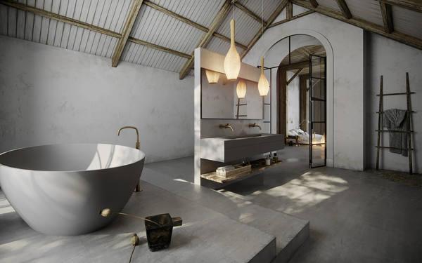Thiết kế phòng tắm mộc mạc nhưng vẫn tạo được điểm nhấn đặc biệt