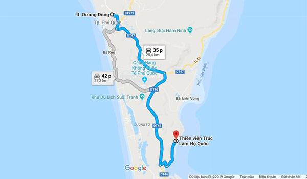 Bản đồ đường đi đến chùa
