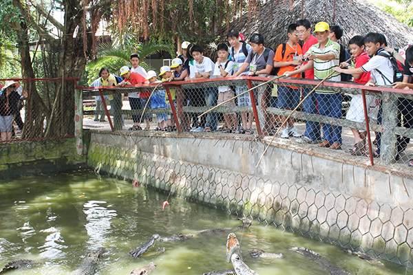 Du khách tham gia chơi trò câu cá sấu tại khu du lịch