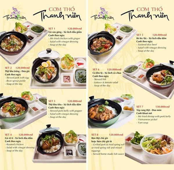 Set menu cơm trưa tại một nhà hàng