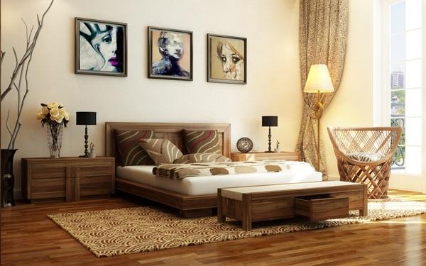 Phòng ngủ hiện đại ấm áp với gma màu trung tính