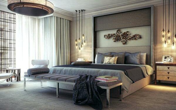 Hệ thống đèn trang trí làm cho phòng ngủ trở nên trang trọng