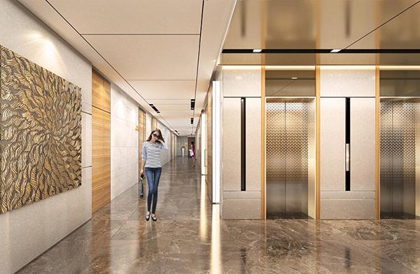 Thiết kế hành lang khách sạn thông qua sảnh và khu vực thang máy