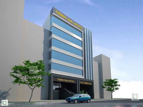 Khách sạn mang phong cách hiện đại với tông màu xanh mát