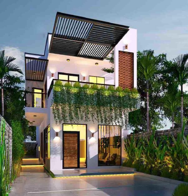 Mẫu thiết kế nhà nghỉ 2 tầng mái thái kết hợp với cây xanh cảnh quan tươi mát