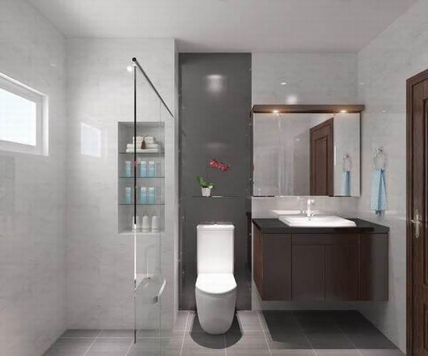 Phòng tắm trong nhà nghỉ 4 tầng được thiết kế đơn giản nhưng tiện lợi đối với người ở