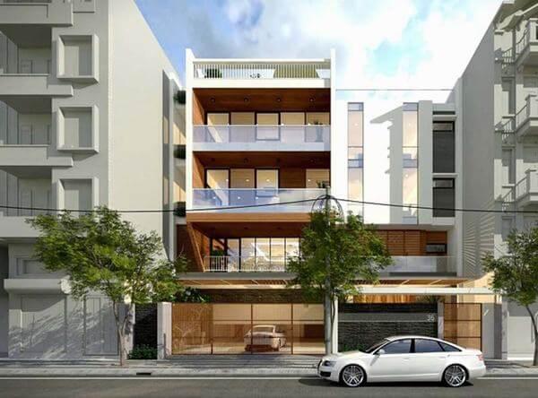 Nhà nghỉ 4 tầng được thiết kế phù hợp với nhu cầu của khách lưu trú