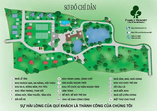 Bản đồ chỉ dẫn tại Family resort, Ba Vì