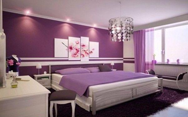 Máu sơn tím ngọt mắt làm cho phòng ngủ trở nên lãng mạn