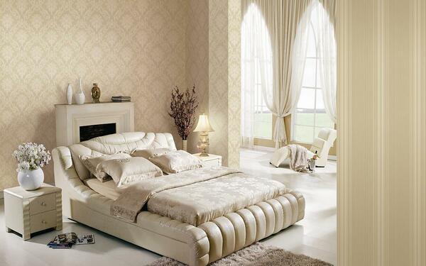 Gam màu kem trang trí phòng ngủ nhã nhặn đẹp tinh tế