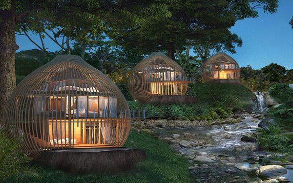 Các bungalow tạo hình lồng chim nổi bật trong hệ sinh thái resort