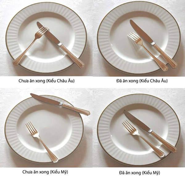 Cách đặt dao nĩa trong bàn tiệc theo kiểu Âu và kiểu Mỹ